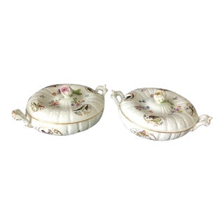 18th Century Meissen Porcelain Lidded Vegetable Serving Dishes With Painted Flowers and Birds - a Pair For Sale