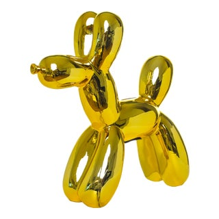 "Interior Illusions Plus Yellow Balloon Dog Bank - 12"" Tall For Sale"