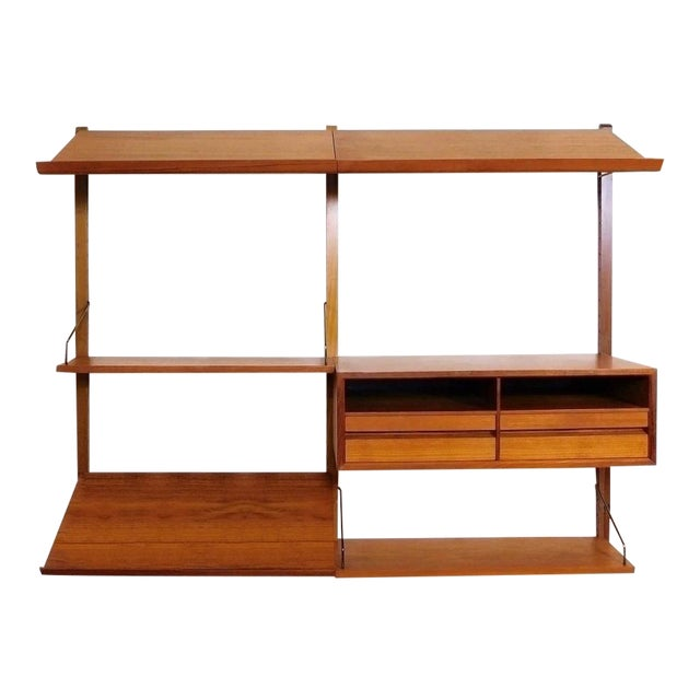 Danish Modern Teak Floating Adjustable Desk Wall Unit Bookcase by Carlo Jensen for Hundevad & Co For Sale