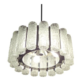 Round Chandelier With Crackle Glass For Sale