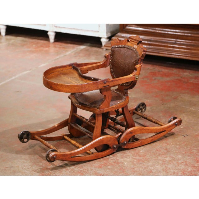 Victorian 19th Century English Carved Walnut and Leather Adjustable High Chair Rocker For Sale - Image 3 of 13