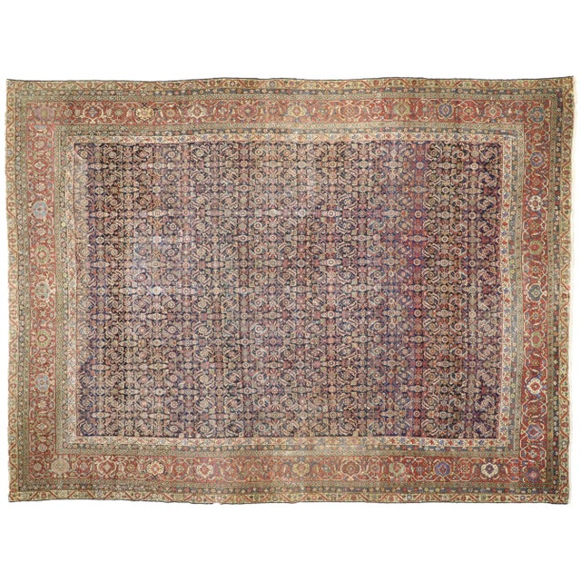 Textile Early 20th Century Antique Mahal Rug - 12′3″ × 16′4″ For Sale - Image 7 of 7
