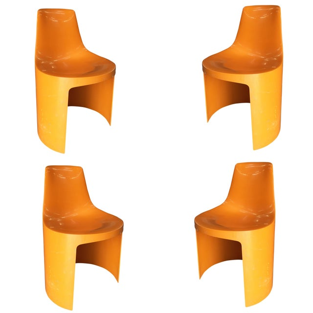 Early Swedish Orange Plastic Stacking Side Chairs by Overman - Set of 4 For Sale - Image 9 of 9
