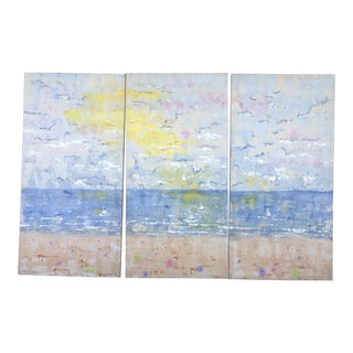 XL Triptych of Sky and Beach Signed For Sale