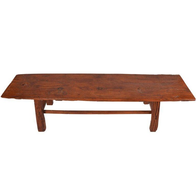 Asian Antique Chinese Elm Primitive Bench For Sale - Image 3 of 6