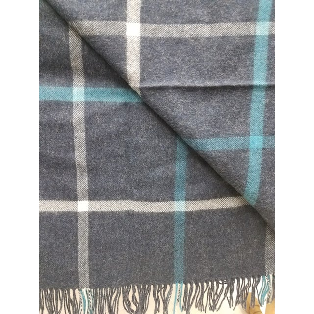 Merino Wool Throw Blue and Aqua - Made in England For Sale In Dallas - Image 6 of 9