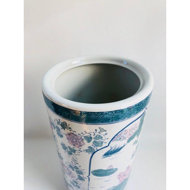 Ceramic Vintage Chinoiserie Pink, Blue, Lavender & Green Chinese Porcelain Umbrella Holder For Sale - Image 7 of 8