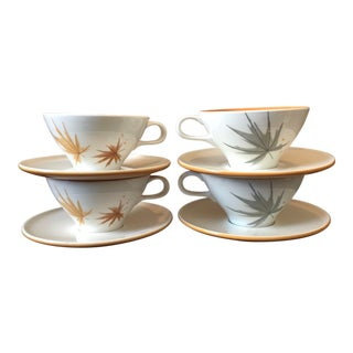 1960s Mid-Century Modern Ben Seibal Iroquois Harvest Time Tea Cups - 8 Pieces For Sale