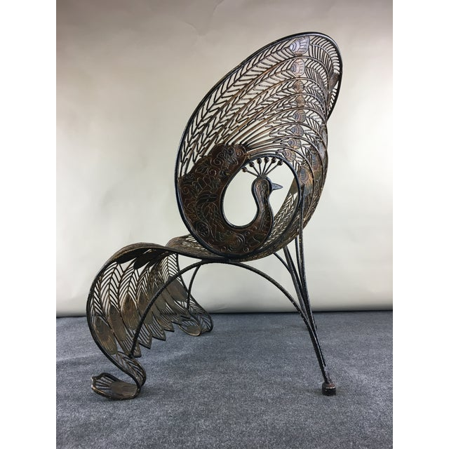 Gold 1990s Wrought Iron Sculptural Peacock Chair by Artmax For Sale - Image 8 of 11