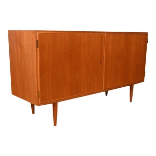 Locking Door Danish Teak Condo-Sized Storage Cabinet / Sideboard For Sale
