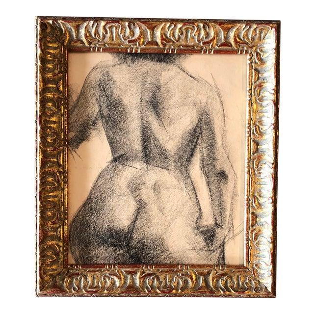 Vintage Original Female Nude Charcoal Study For Sale