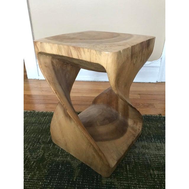 Twisting Natural Wood Stool - Image 3 of 5