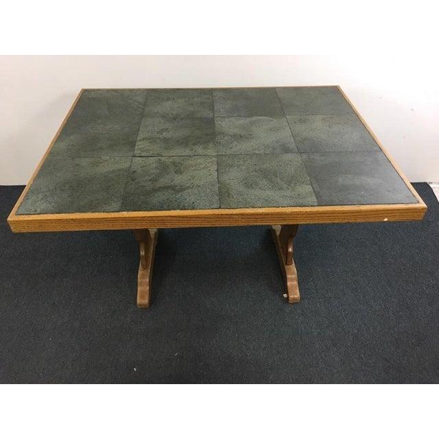 Vintage Carved Wood & Ceramic Tile Top Table - Image 2 of 4