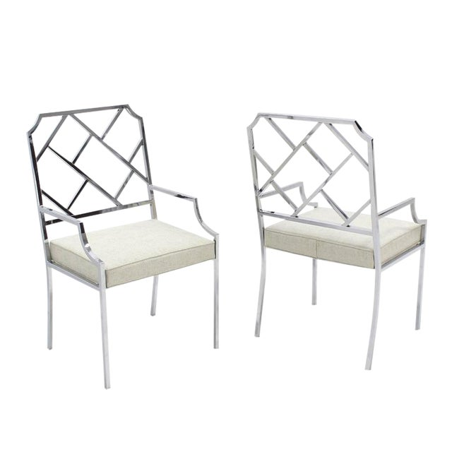 New Upholstery Pair of Chrome Wide Ladder Back Chrome Chairs For Sale