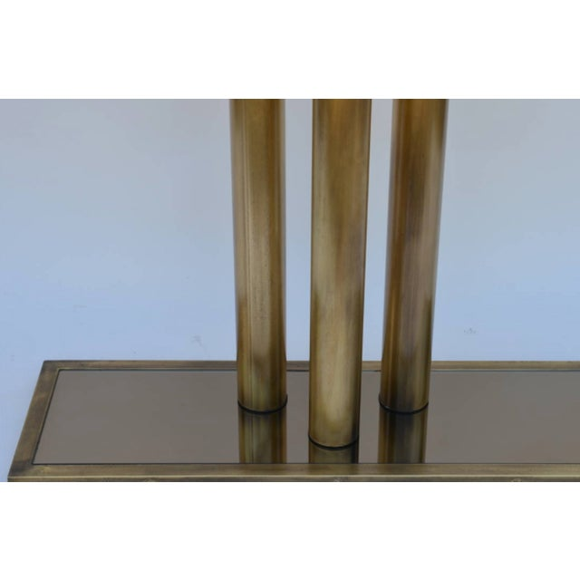 """Contemporary """"Calandre"""" Narrow Brass Mirrored Console For Sale - Image 4 of 9"""