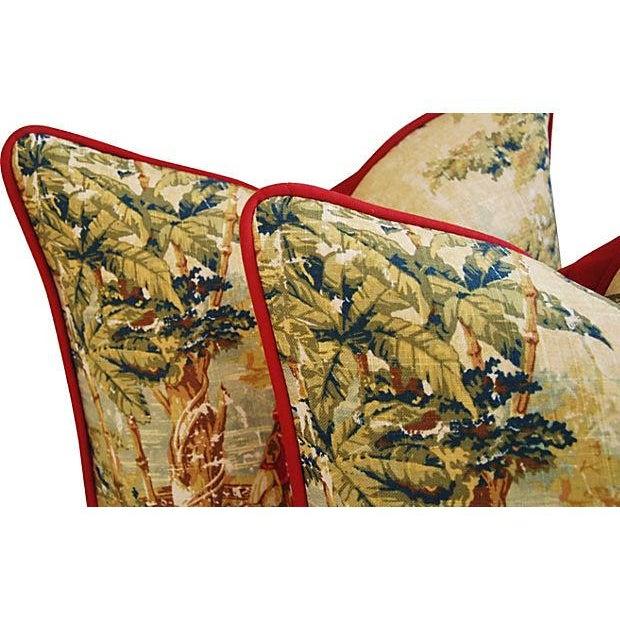 Designer Renaissance Toile Linen Pillows - A Pair - Image 6 of 8