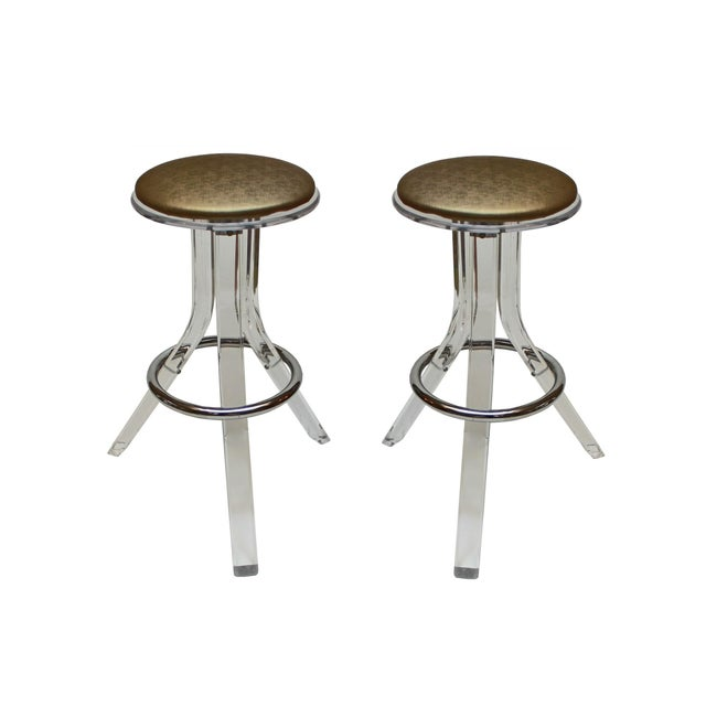 Charles Hollis Jones Lucite Barstools - A Pair - Image 1 of 4