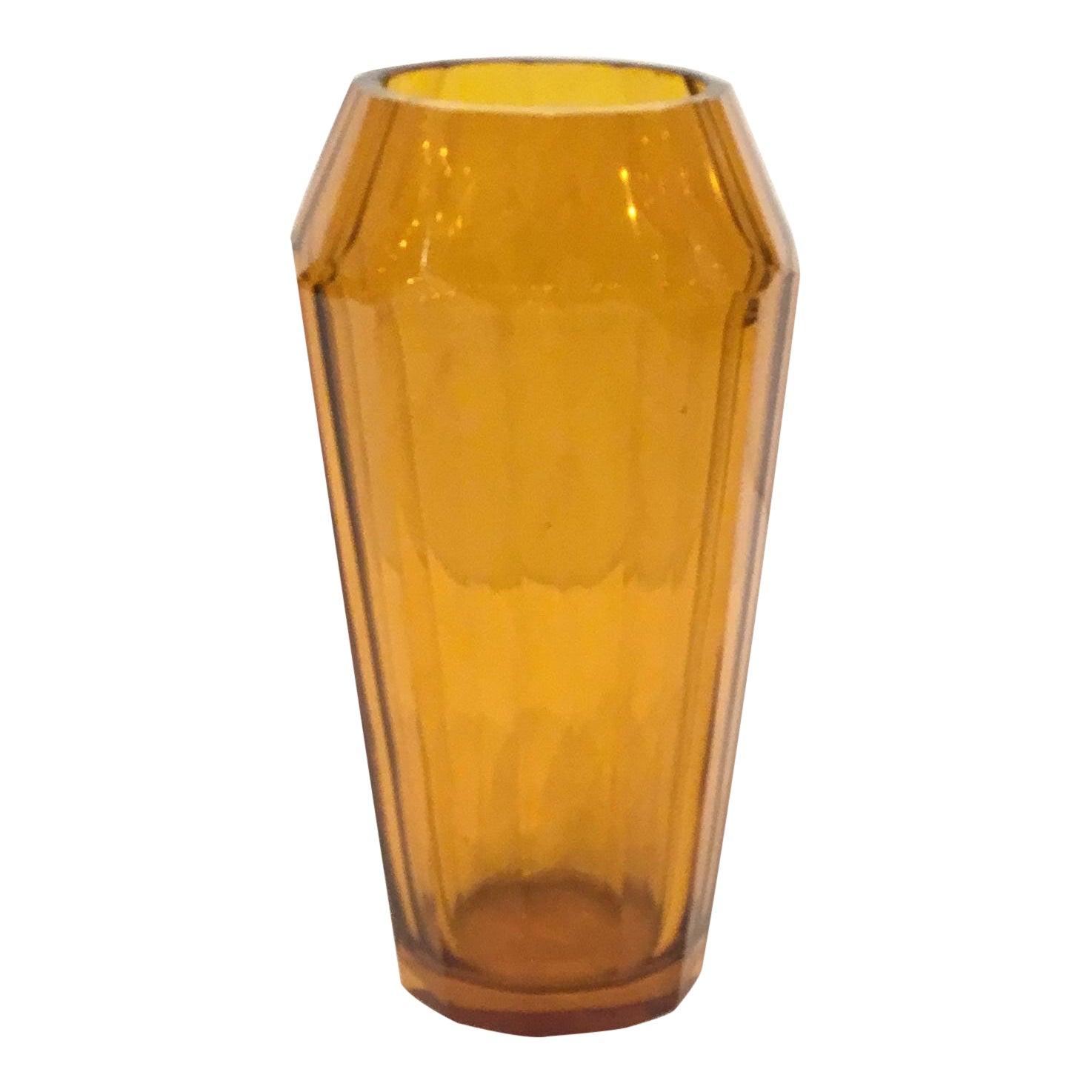 Vintage Moser Amber Art Glass Vase | Chairish