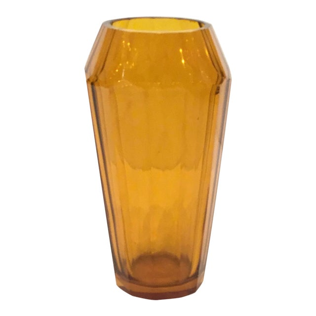 Vintage Moser Amber Art Glass Vase For Sale
