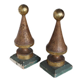 18th Century Altar Baroque Gold Leaf Finials - a Pair For Sale