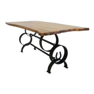 Italian Calabria Live Edge Solid Wood Walnut and Ash Dining Table For Sale
