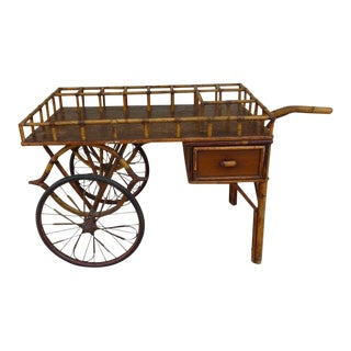 Early 20th Century Antique Rattan Tiki Bar Cart For Sale