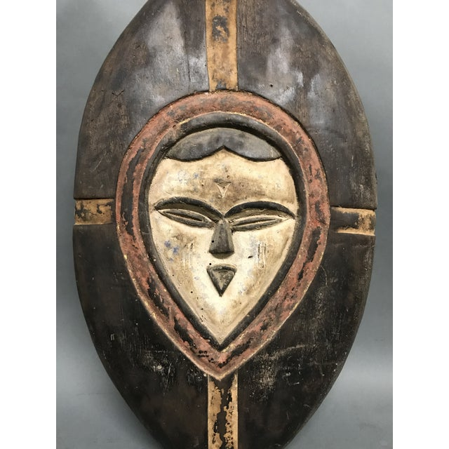 African Tribal Art Carved Wood Shield From Kwele Gabon