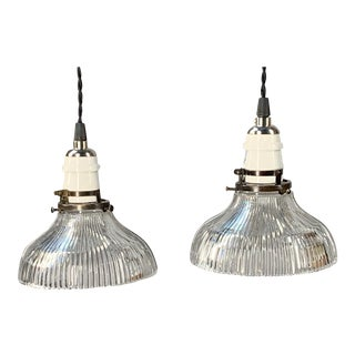 Circa 1920 Hanging Holophane Pendants - a Pair For Sale