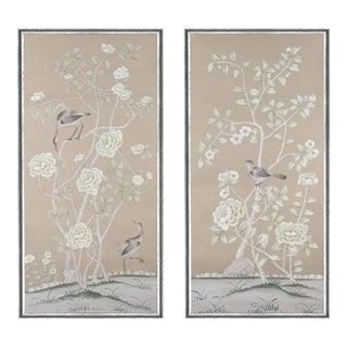 "Jardins en Fleur ""Donnington"" Chinoiserie Hand-Painted Silk Diptych by Simon Paul Scott in Italian Silver Frame - a Pair For Sale"