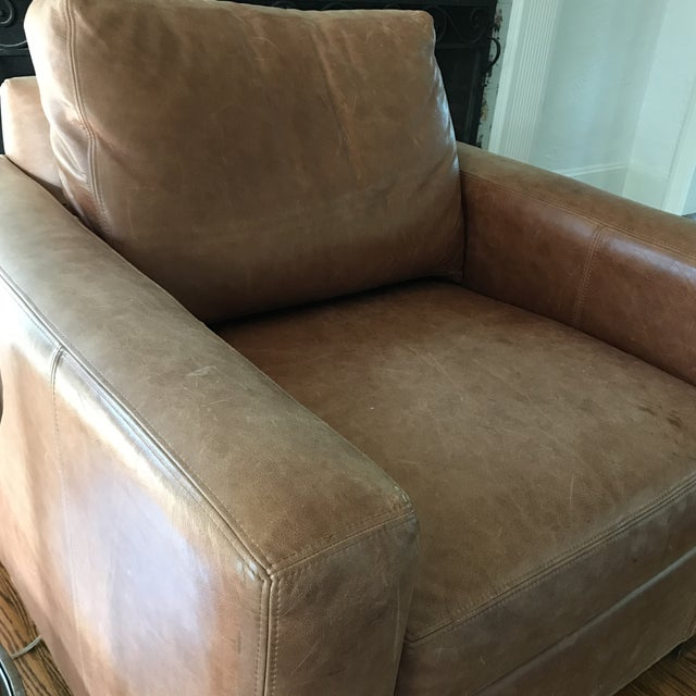 Ethan Allen Distressed Leather Hudson Club Chair - Image 6 of 7
