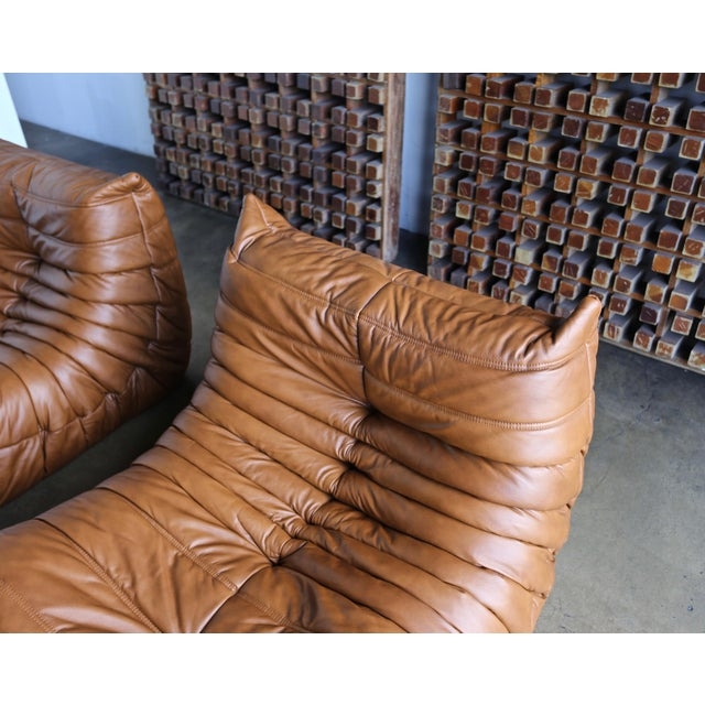 """Michel Ducaroy for Ligne Roset """"Togo"""" Leather Lounge Chairs - a Pair For Sale - Image 12 of 13"""