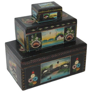 Handmade Mexican Boxes - Set of 3 For Sale