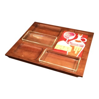 Vintage Bey-Cor Mid Century Walnut & Enamel Cheese Tray For Sale