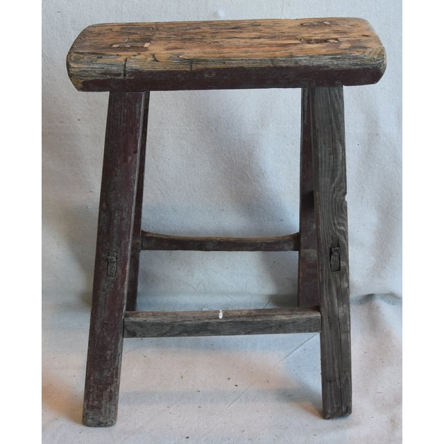 Abstract Rustic Primitive Country Wood Farmhouse Stool For Sale - Image 3 of 9