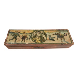 Antique Christmas & Santa Pencil Box For Sale