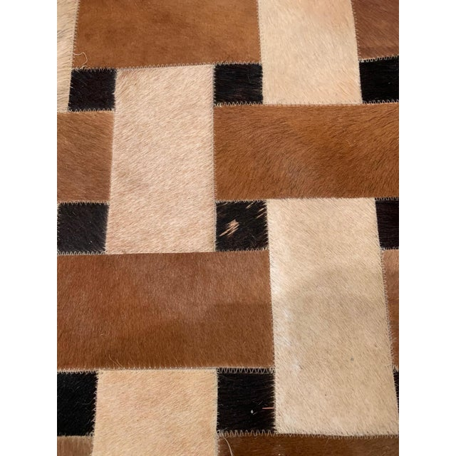 Geometric Patchwork Cowhide Area Rug For Sale - Image 4 of 13