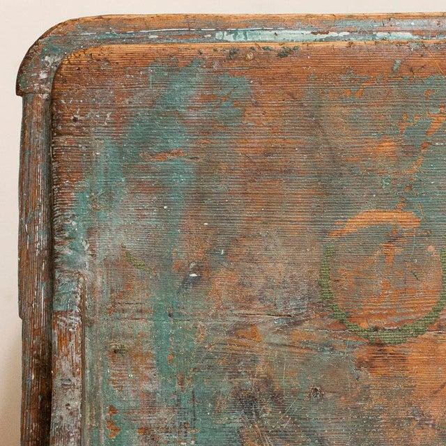 Antique Original Teal Green Folk Art Painted Sideboard For Sale - Image 10 of 11