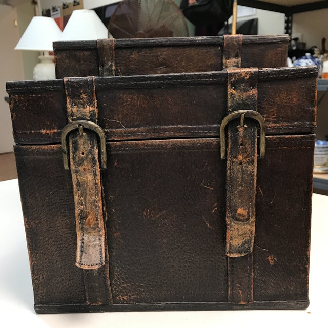 Vintage Leather Storage Boxes - A Pair For Sale - Image 4 of 11