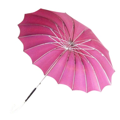 Vintage Purple 1950s Umbrella With Lucite Handle - Image 1 of 6