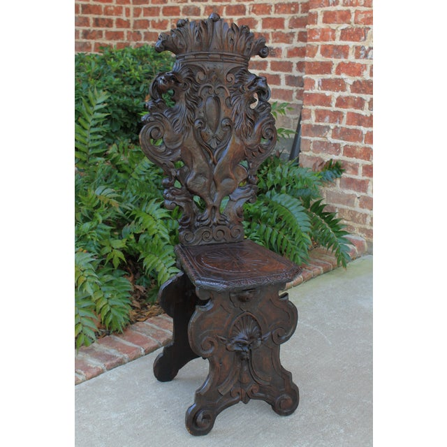 Mid 19th Century Antique Italian Carved Walnut Sgabello Chair For Sale In Dallas - Image 6 of 13