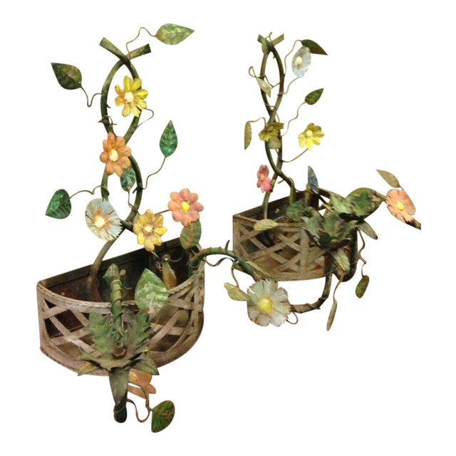 19th Century French Tole Ware Floral Bouquet Wall Sconces/Baskets - a Pair For Sale