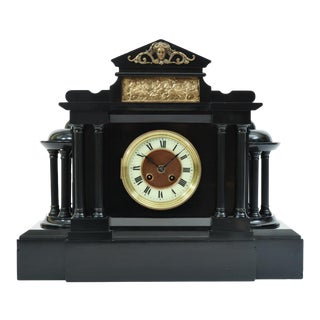Antique Black Slate Classic Mantel or Desk Clock For Sale