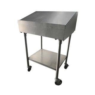 1960s Industrial Factory Stainless Steel Standing Desk For Sale