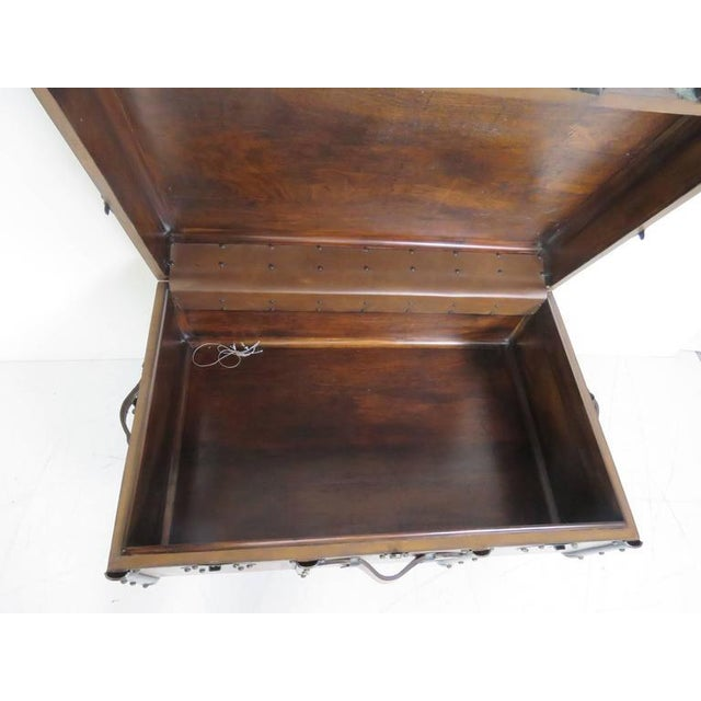 Custom Leather Trunk Coffee Table For Sale - Image 4 of 6