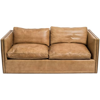 1970s Vintage Leather Nailhead Cube Settee For Sale