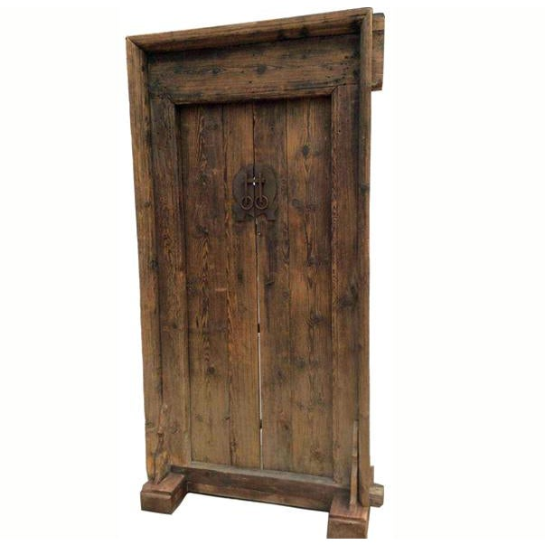 Wood Mid-19th Century Antique Asian Wood Door For Sale - Image 7 of 7