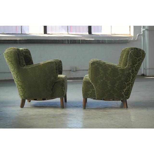 Pair of Danish 1940s Fritz Hansen Model 1669 Style Lounge Chairs For Sale - Image 9 of 11