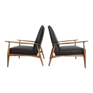 1950s Mid-Century Modern Paul McCobb Leather Lounge Chairs - a Pair For Sale
