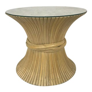 Mid Century McGuire Sheaf of Wheat Table With Glass Top For Sale