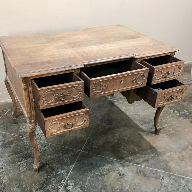 Early 20th Century Antique Country French Louis XV Stripped Oak Desk For Sale - Image 5 of 12